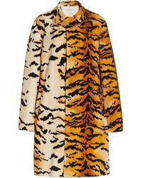 Philosophy Di Lorenzo Serafini Tiger-print Cotton-velvet Trench Coat - Multicolour