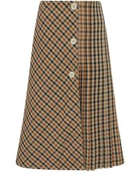 Wales Bonner Kalimba Pleated Checked Wool-blend Midi Skirt - Multicolor