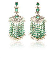Sanjay Kasliwal - Long Emerald Fan Earrings - Lyst
