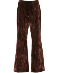 Maison Margiela Creased Velvet Flared Trousers - Brown
