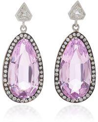 Sylva & Cie - 18k White Gold, Kunzite And Diamond Earrings - Lyst