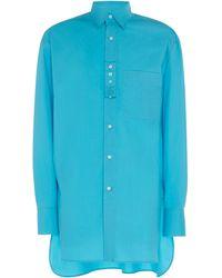 Lanvin Oversized Woven Cotton Shirt - Blue