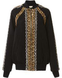 Elie Saab Sequin Embellished Cady Bomber Jacket - Black
