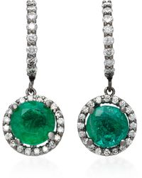 Colette Planet 18k White Gold, Diamond And Emerald Earrings - Green