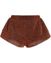 Oséree Lumière Metallic Mini Shorts - Brown