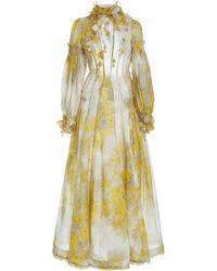 Zimmermann Botanica Printed Linen-silk Maxi Dress - Yellow