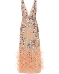 Marchesa Feather-trimmed Floral-embroidered Tulle Midi Dress - Pink