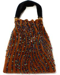 Lizzie Fortunato Gala Contrasting Embroidered Velvet Top Handle Bag - Brown