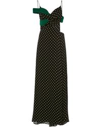 Haider Ackermann Draped Polka-dot Chiffon Dress - Black