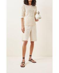 Albus Lumen Crochet Knit T-shirt - Natural