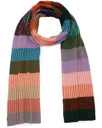 The Elder Statesman Striped Rib-knit Cashmere Scarf - Multicolour