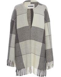 Jil Sander Lyra Deep V Wool Top - Gray