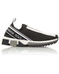 Dolce & Gabbana Stretch Jersey Sorrento Trainers With Logo - Black
