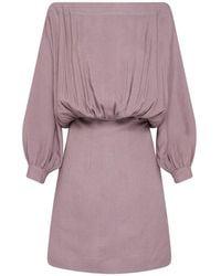 Bondi Born La Madelena Linen Canvas Mini Dress - Purple