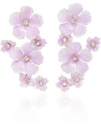 Jennifer Behr - Lilac Painted Brass Crystal Earrings - Lyst