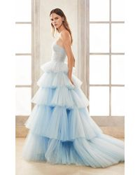 Oscar de la Renta Bustier Strapless Ball Gown With 5 Layers Of Ruffled Tulle - Blue
