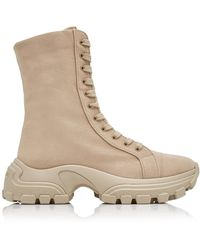 Miu Miu Washed Denim Combat Boots - Natural