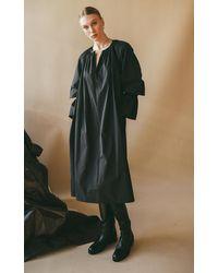 Deveaux Aurora Balloon-sleeve Poplin Dress - Black