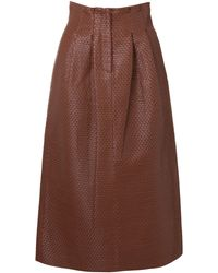 Dodo Bar Or Tricia Woven Leather Pencil Skirt - Brown