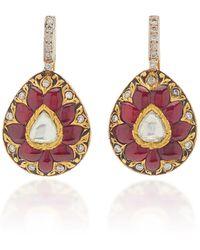 Amrapali Diwali 22k Yellow Gold Multi-stone Earrings - Red
