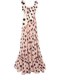 Leal Daccarett Flor Polka Dot Chiffon Dress - Pink