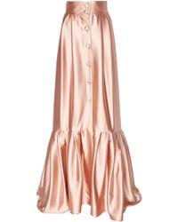 Luisa Beccaria Pleated-hem Buttoned Satin Skirt - Pink
