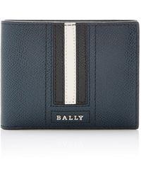 Bally Stripe Leather Wallet - Blue