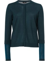 Akris Cashmere Silk Knit Cardigan - Blue