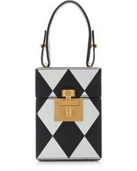 Oscar de la Renta Alibi Diamond-printed Leather Top Handle Bag - Black