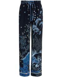 RED Valentino Toile-print Silk Drawstring Lounge Pants - Blue