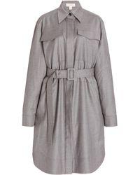 Matériel Belted Longline Wool Shirt - Grey