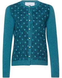 Luisa Beccaria Needled Cashmere Cardigan - Blue