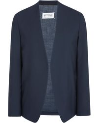 Maison Margiela Two-ply Collarless Wool Blazer - Blue