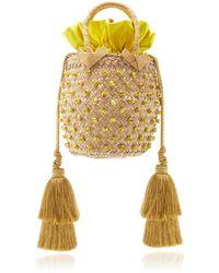 Silvia Tcherassi Carol Palm Top Handle Bag - Yellow