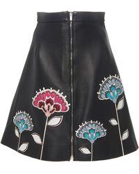 Carolina Herrera Embroidered Leather Mini Skirt - Black