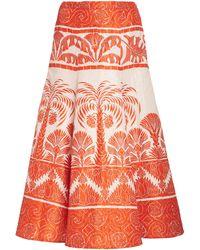 Johanna Ortiz The Palm To Nadube Printed Silk-blend Skirt - Orange