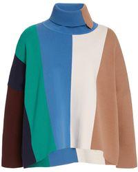 Victoria, Victoria Beckham Striped Knit Turtleneck Sweater - Blue