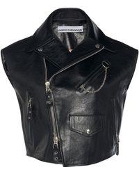 Paco Rabanne Cropped Sleeveless Leather Jacket - Black