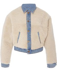 GRLFRND Sarai Reversible Cropped Shearling And Denim Jacket - Blue