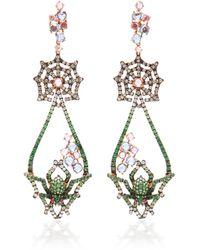 Wendy Yue 18k Rose Gold, Tsavorite, Sapphire, Diamond And Ruby Earrings - Purple