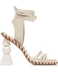 Jacquemus Les Valerie Hautes Linen And Leather Sandals - White