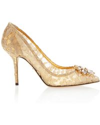 Dolce & Gabbana - Embellished Lace Pumps - Lyst