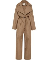 Bottega Veneta Belted Tricot Jumpsuit - Natural
