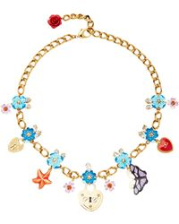 Dolce & Gabbana - Crystal Charms Necklace - Lyst