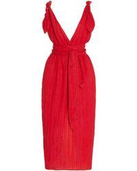 Mara Hoffman Calypso Belted Linen-blend Midi Dress - Red