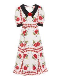 Rodarte Rose-printed Collared Silk Dress - White