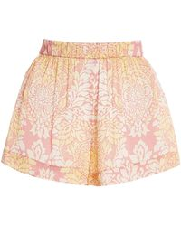 Alexis Darra Printed Satin Mini Shorts - Pink