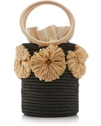 Poolside Together Forever Raffia-trimmed Straw Bucket Bag - Multicolour