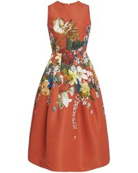 Oscar de la Renta Floral-print Crepe Midi Dress - Multicolor