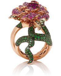 Wendy Yue - 18k Rose Gold, Tsavorite, Sapphire, Diamond And Ruby Ring - Lyst